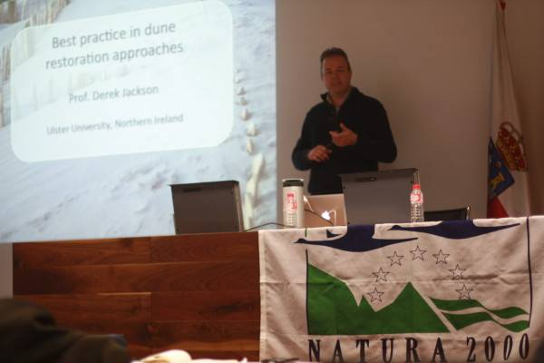 "Proff. Dereck Jackson during his talk on ""Best practices in dune restoration approaches"""