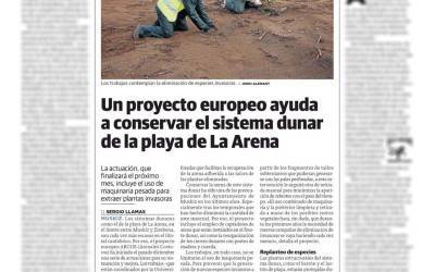 EL CORREO newspaper covers the actions undertaken on the La Arena beach on 16/01/2016