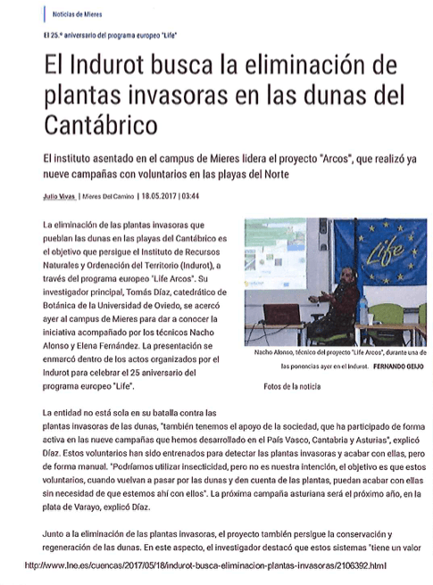 """""""INDUROT seeks to eliminate invasive plants from Cantabrian dunes"""""""